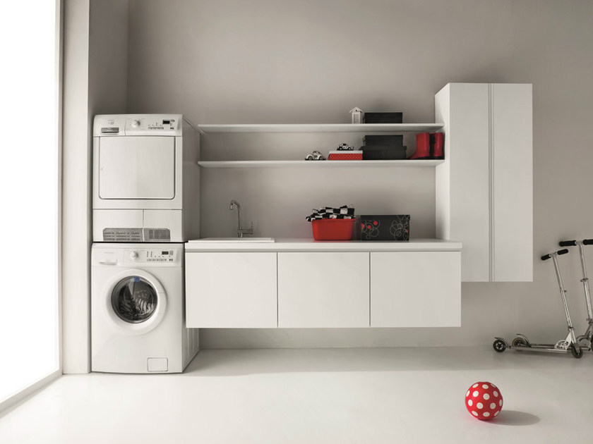 Lacquered melamine-faced chipboard laundry room cabinet with sink IDROBOX | Wall-mounted laundry room cabinet by Birex