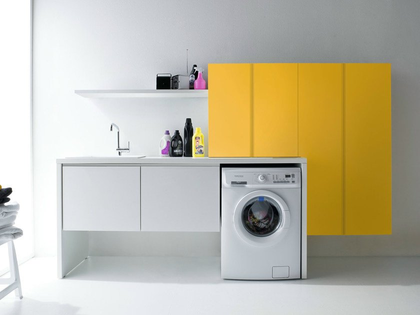 Sectional lacquered laundry room cabinet with sink IDROBOX   Sectional laundry room cabinet by Birex