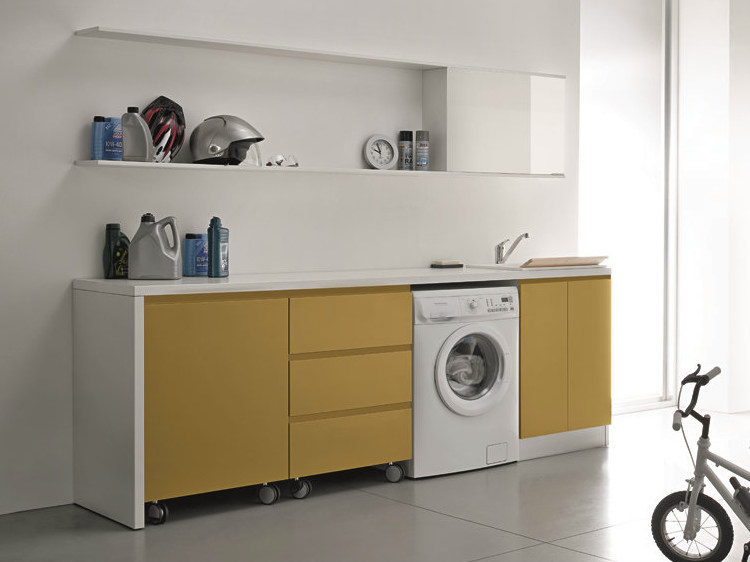 Lacquered laundry room cabinet with sink IDROBOX   Laundry room cabinet with casters by Birex