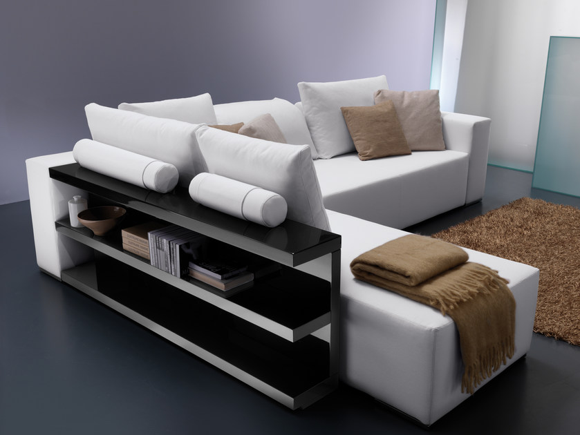 Corner fabric sofa POPPER | Sofa with integrated magazine rack by Bontempi