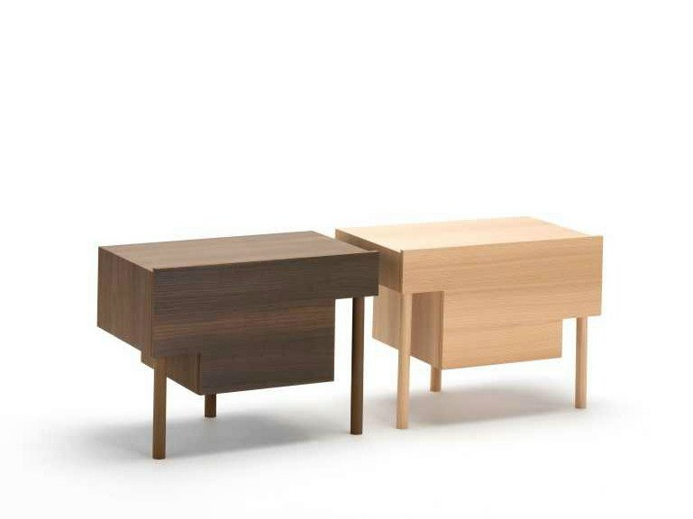 Wooden bedside table with drawers STILT by Living Divani
