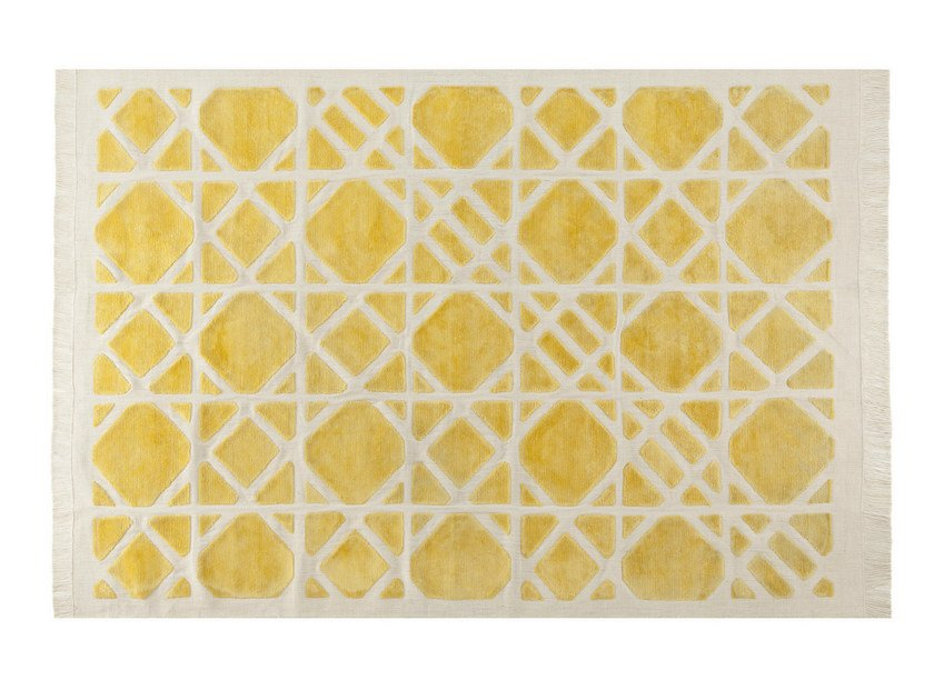 Patterned rectangular rug CANNAGE by ROCHE BOBOIS