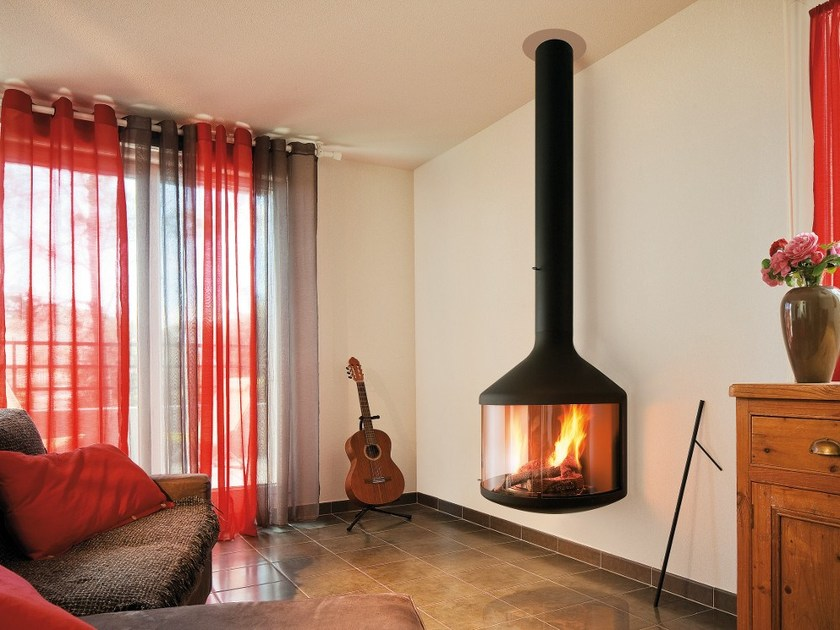 Wood-burning hanging wall-mounted fireplace HUBFOCUS by Focus creation