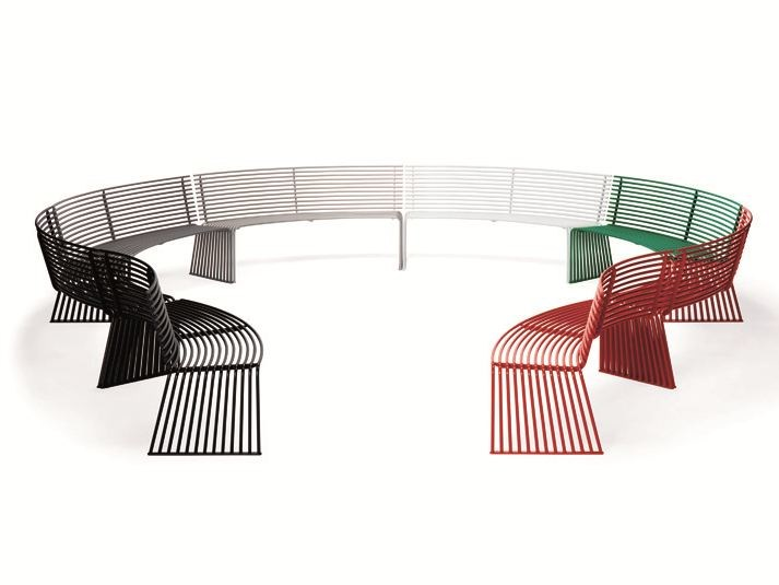 Curved metal Bench with back ZEROQUINDICI.015   Bench with back by Diemmebi