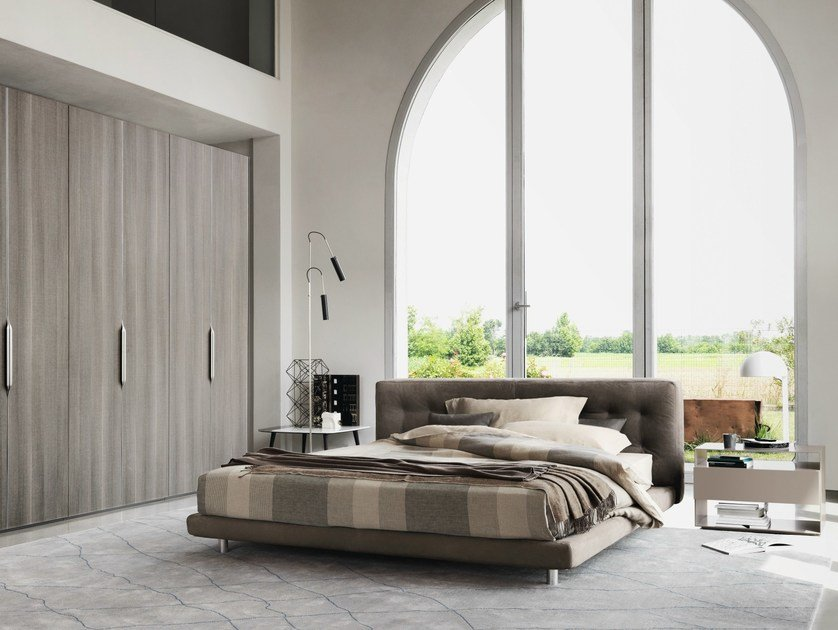Leather bed with upholstered headboard DOZE | Double bed by Flou