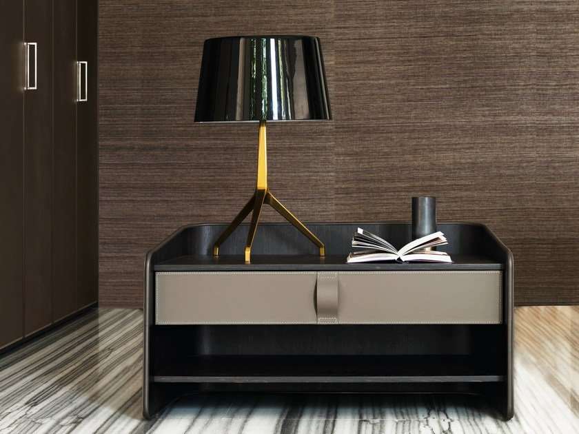 Rectangular leather bedside table GENTLEMAN | Bedside table by Flou