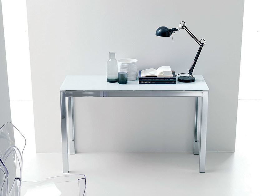 Extending crystal and steel console table MAGO   Console table by Bontempi
