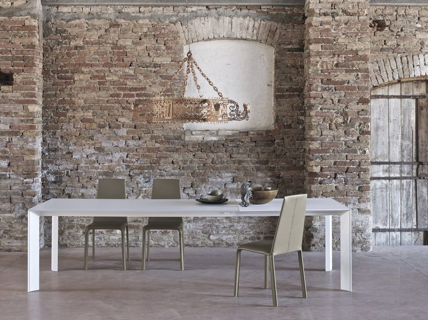 Rectangular crystal and steel table GENIO by Bontempi