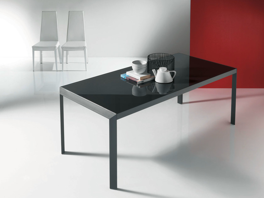Extending living room table IZAC | Crystal and steel table by Bontempi