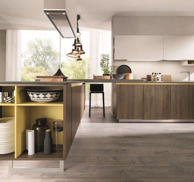 Fitted Kitchen With Peninsula FILOLAIN By Euromobil
