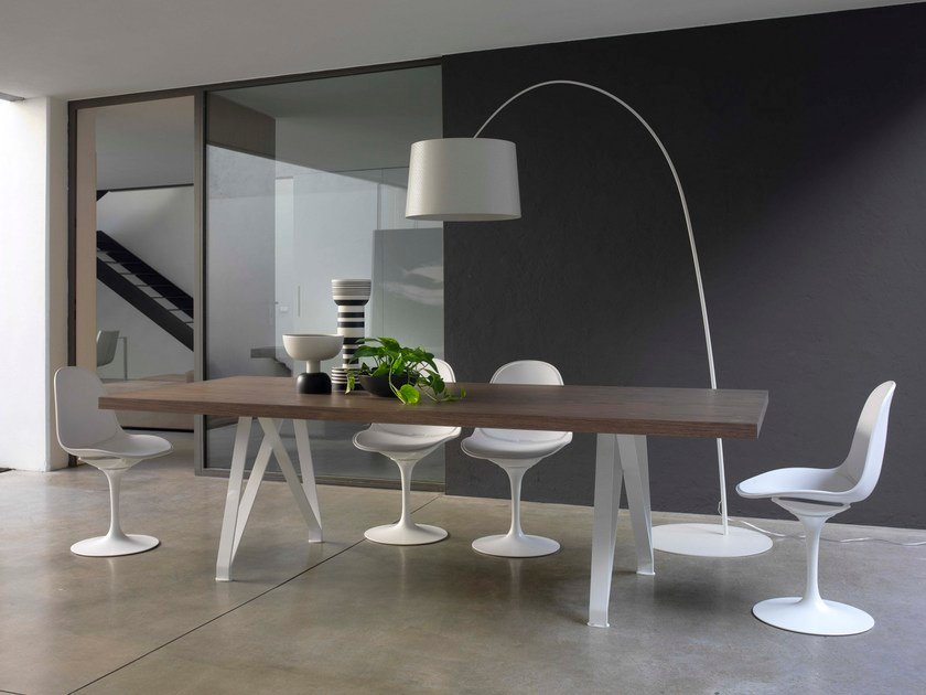 Steel and wood table LOGAN by Bontempi