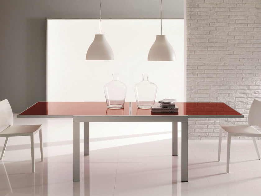 Extending crystal and steel table MORRIS by Bontempi