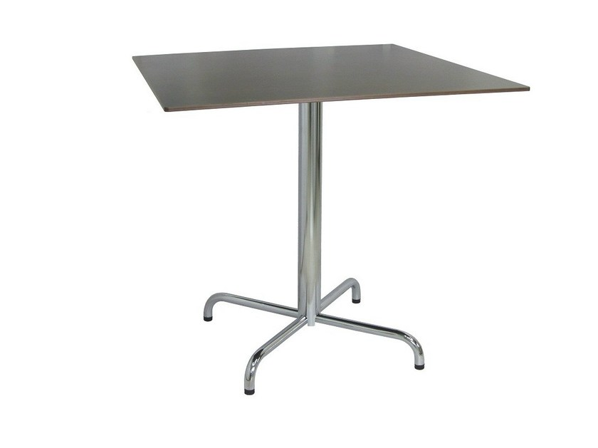 Stainless steel table with 4-star base BAUM-4-X by Vela Arredamenti
