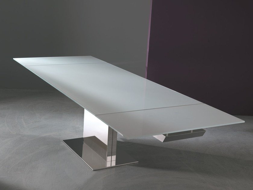 Rectangular crystal and stainless steel table OASI | Extending table by Bontempi
