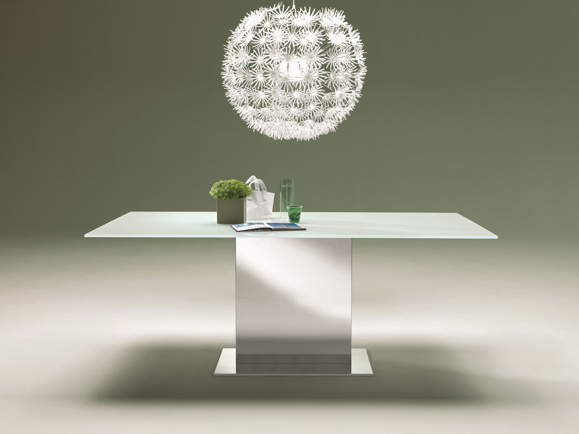 Rectangular crystal and stainless steel table OASI | Crystal table by Bontempi
