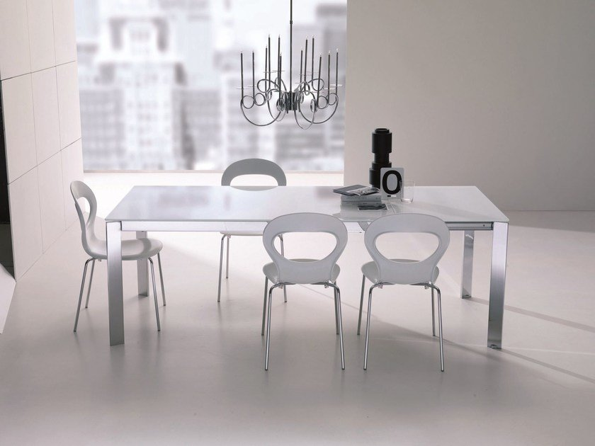 Crystal and steel table NIKO by Bontempi