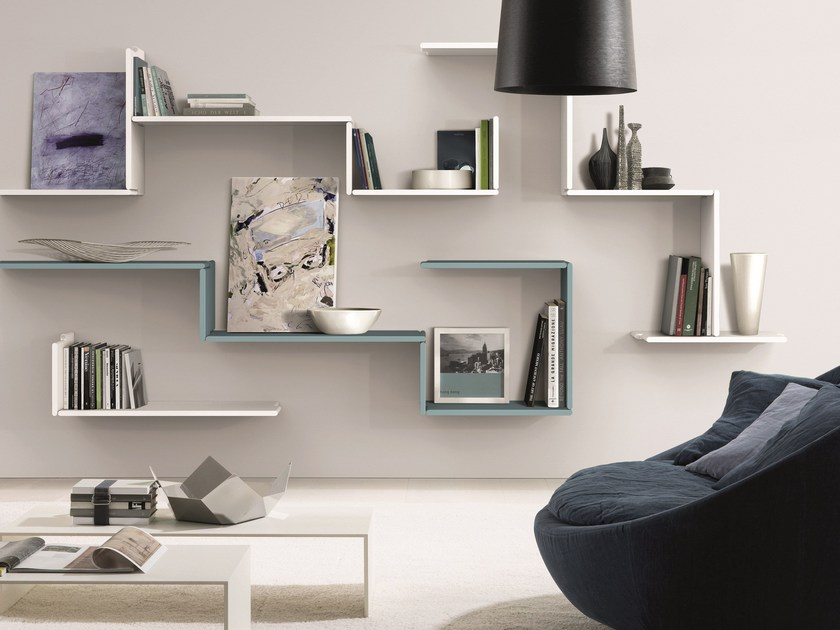 Wooden wall shelf zedline by euromobil for Meuble mural etagere