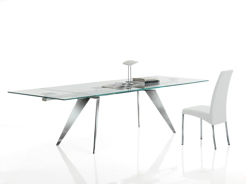 Rectangular crystal and stainless steel table RAMOS | Extending table by Bontempi