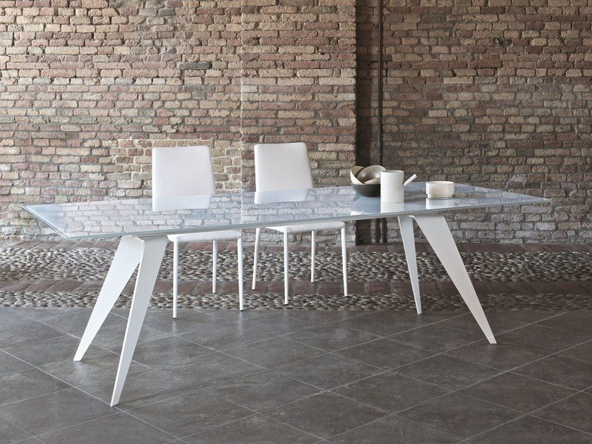 Rectangular crystal and stainless steel table RAMOS | Living room table by Bontempi