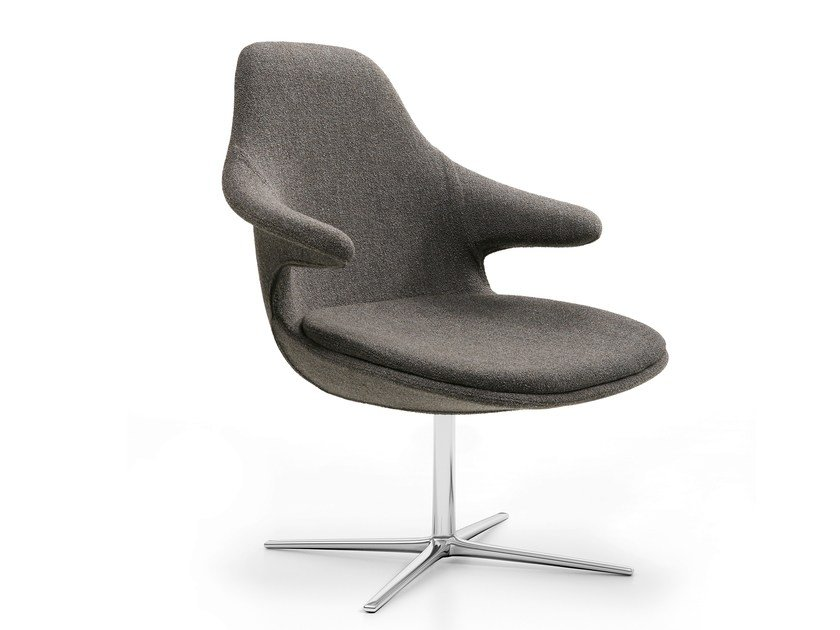 Swivel easy chair with 4-spoke base with armrests LOOP LOUNGE by Infiniti