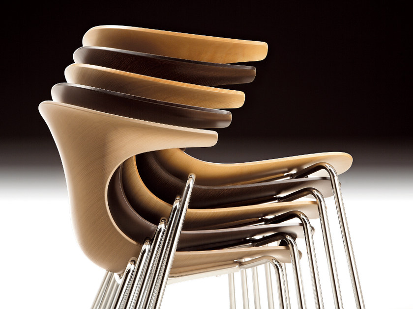 Stackable multi-layer wood chair LOOP   Multi-layer wood chair by Infiniti