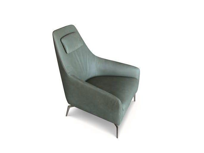 Leather armchair with headrest CAROL by ALIVAR