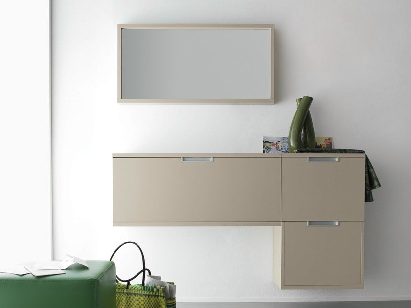 Lacquered wall-mounted hallway unit XL | Lacquered hallway unit by Birex