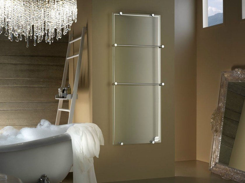 Vertical wall-mounted glass radiator THERMOGLANCE ® | Vertical radiator by Asola Vetro