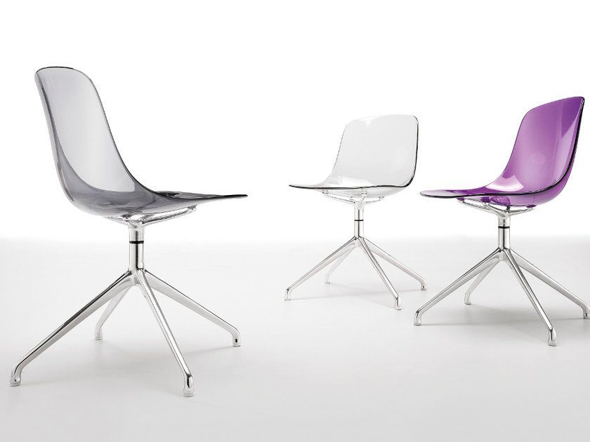 Swivel trestle-based chair PURE LOOP | Trestle-based chair by Infiniti