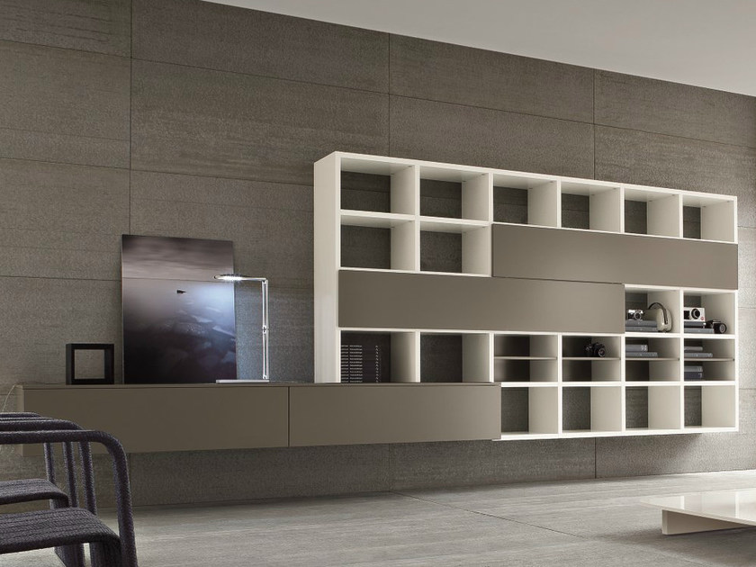 Wall-mounted lacquered storage wall SPEED C by Dall'Agnese