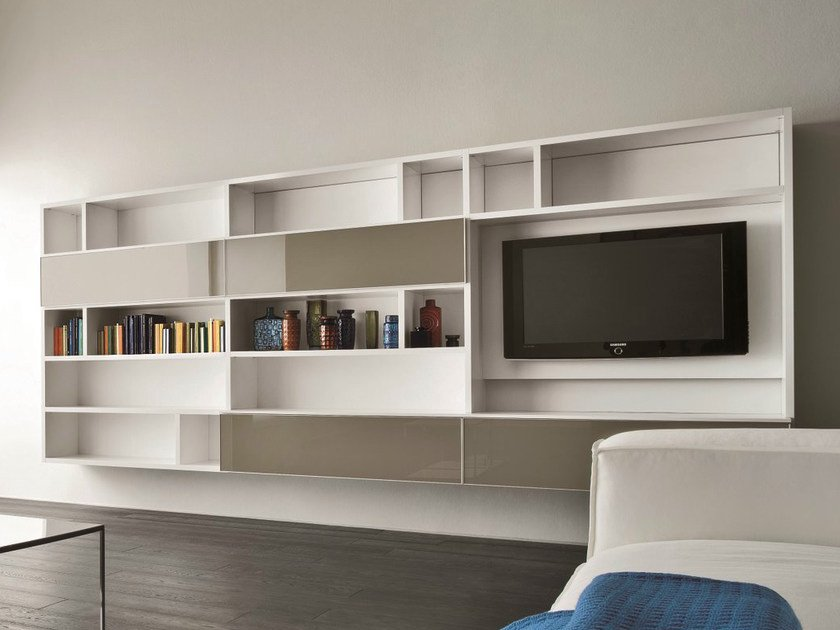 Wall-mounted lacquered TV wall system SPEED M by Dall'Agnese