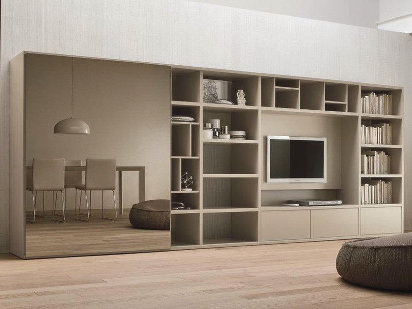 Lacquered TV wall system SPEED I by Dall'Agnese