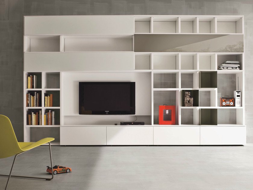 Lacquered TV wall system SPEED E by Dall'Agnese