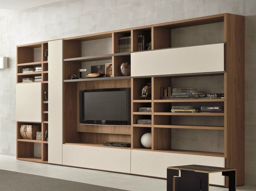 Walnut TV wall system SPEED H by Dall'Agnese