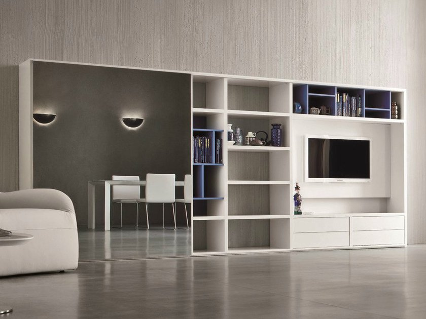 Lacquered TV wall system SPEED L by Dall'Agnese