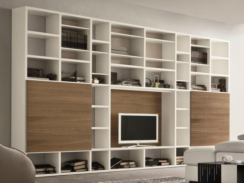 Lacquered TV wall system SPEED O by Dall'Agnese