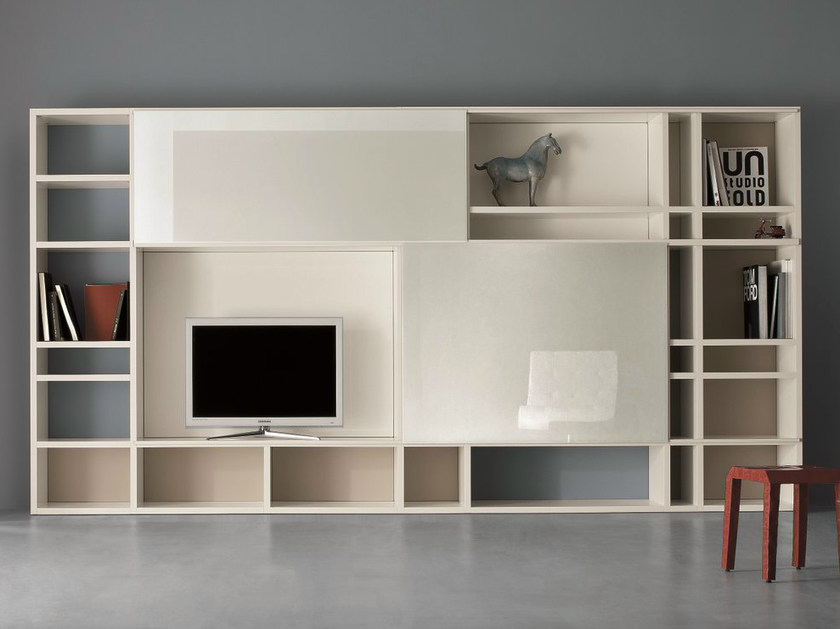 Lacquered TV wall system SPEED G by Dall'Agnese