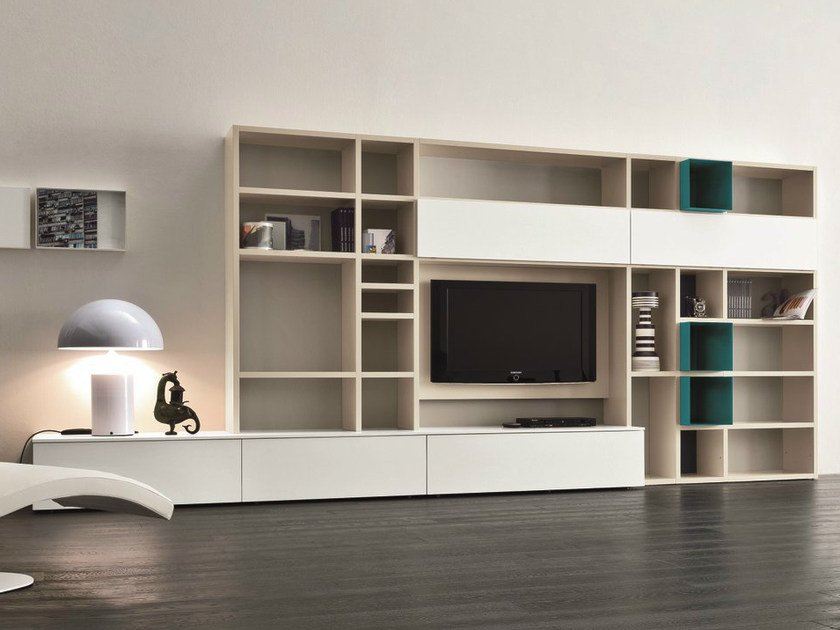 Lacquered TV wall system SPEED N by Dall'Agnese