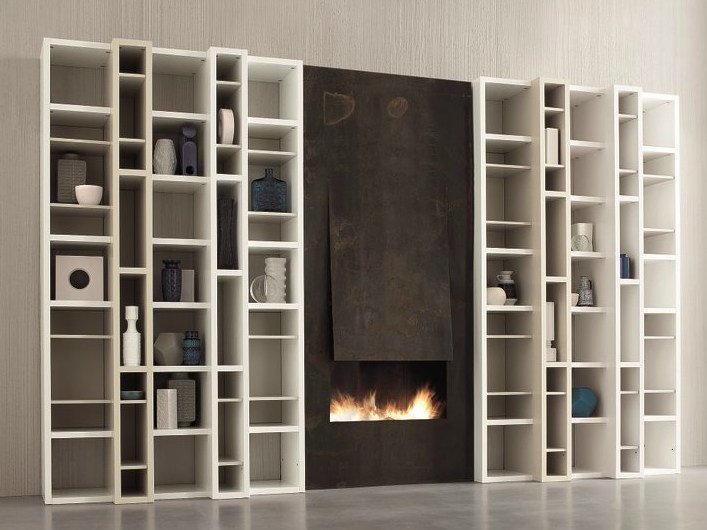 Open lacquered modular bookcase SPEED B by Dall'Agnese
