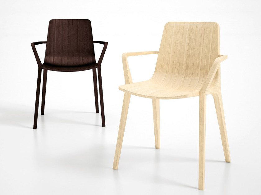 Multi-layer wood chair with armrests SEAME | Chair with armrests by Infiniti
