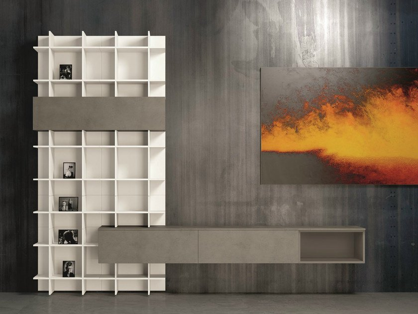Open sectional lacquered bookcase SLIM 55 by Dall'Agnese