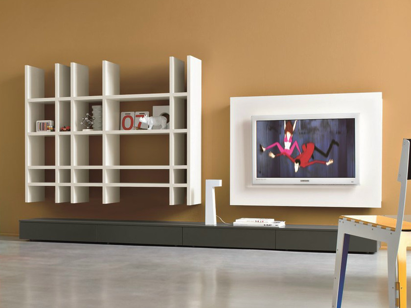 Sectional TV wall system SLIM 9 by Dall'Agnese