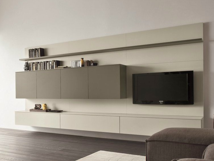 Sectional TV wall system SLIM 14 by Dall'Agnese