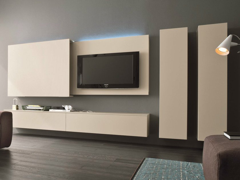 Sectional TV wall system SLIM 13 by Dall'Agnese