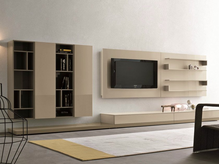 Sectional tv wall system slim 17 by dall 39 agnese design - Muebles para television modernos ...