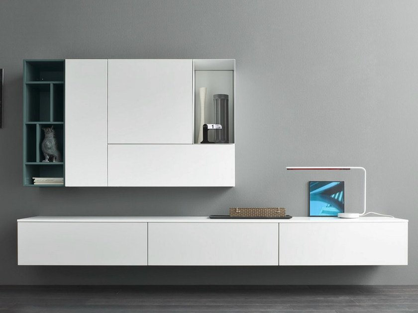 Sectional lacquered storage wall SLIM 3 by Dall'Agnese
