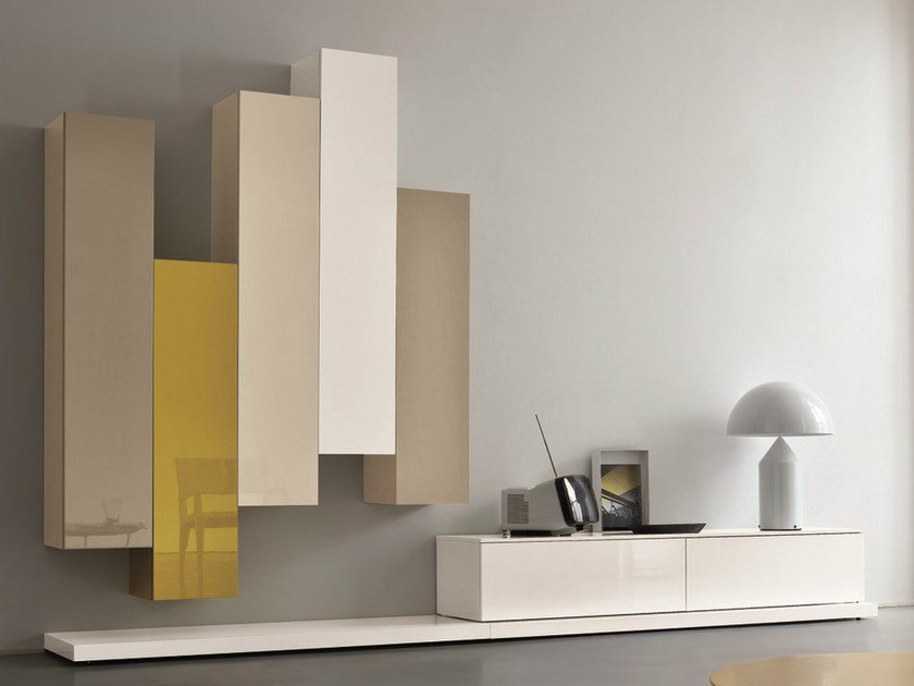 Sectional lacquered storage wall SLIM 5 by Dall'Agnese