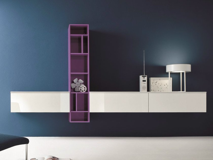 Sectional lacquered storage wall SLIM 6 by Dall'Agnese