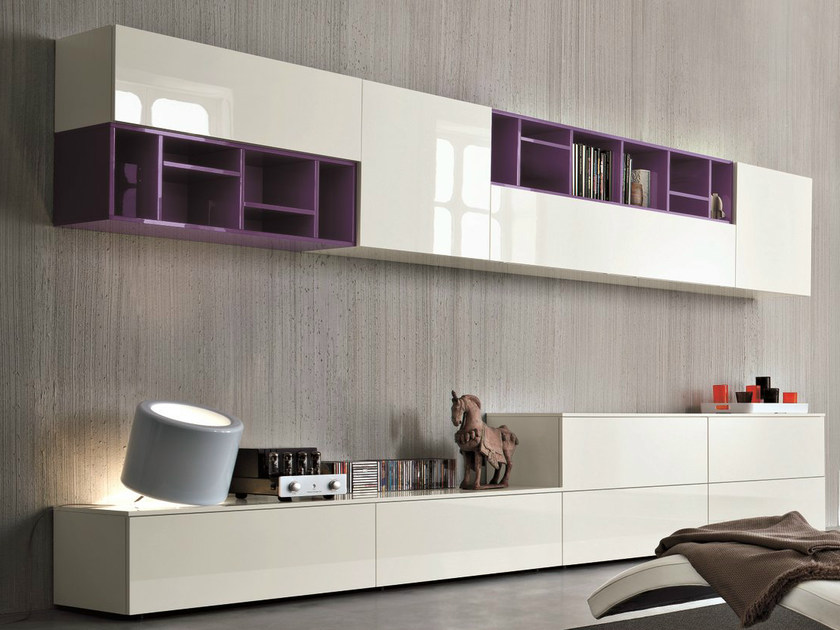 Sectional lacquered storage wall SLIM 11 by Dall'Agnese