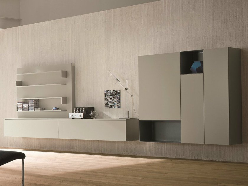 Sectional lacquered storage wall SLIM 12 by Dall'Agnese